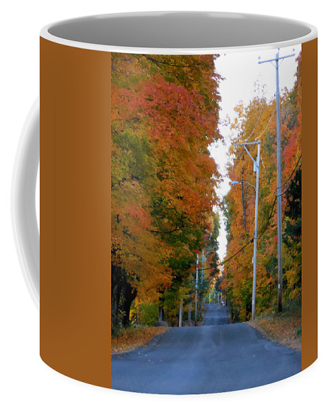 Autumn Scene With Road In Forest Coffee Mug featuring the painting Rural Road Running Along The Maple Trees In Autumn 1 by Jeelan Clark