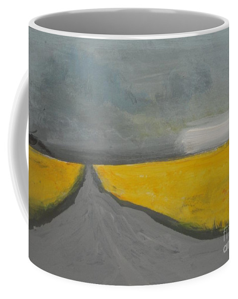 Abstract Landscape Coffee Mug featuring the painting Rural Road Trough Canola Field by Vesna Antic