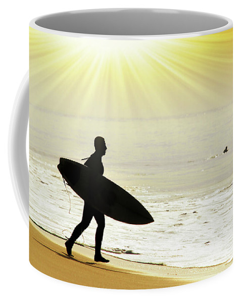 Action Coffee Mug featuring the photograph Rushing Surfer by Carlos Caetano