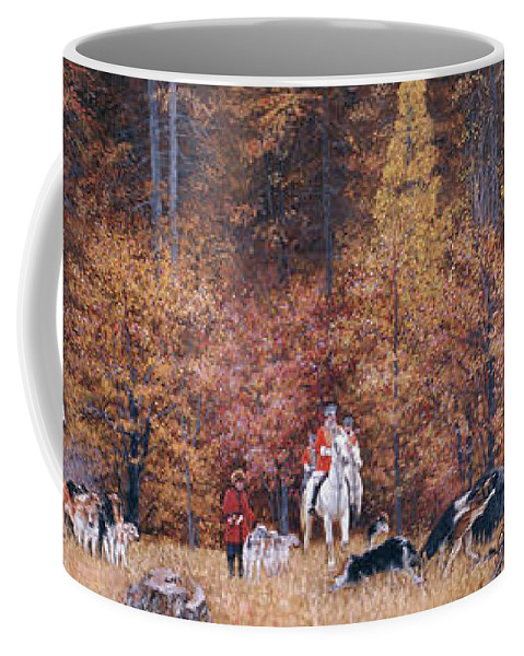 Russian Coffee Mug featuring the painting Russian Hunting by Simon Kozhin