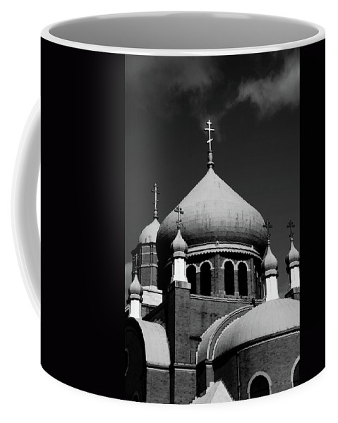 Russian Coffee Mug featuring the photograph Russian Orthodox Church Bw by Karol Livote
