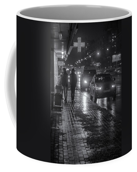 Online Gallery Coffee Mug featuring the photograph Russian Street Scene At Night 2015 by John Williams