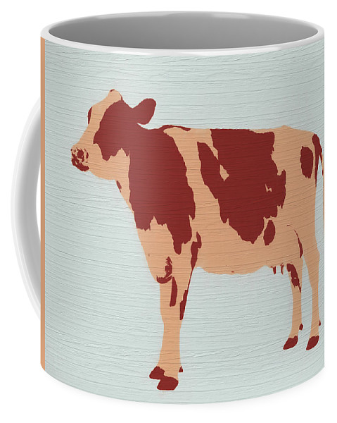 Rustic Cow Barn Door Coffee Mug featuring the painting Rustic Cow by Dan Sproul