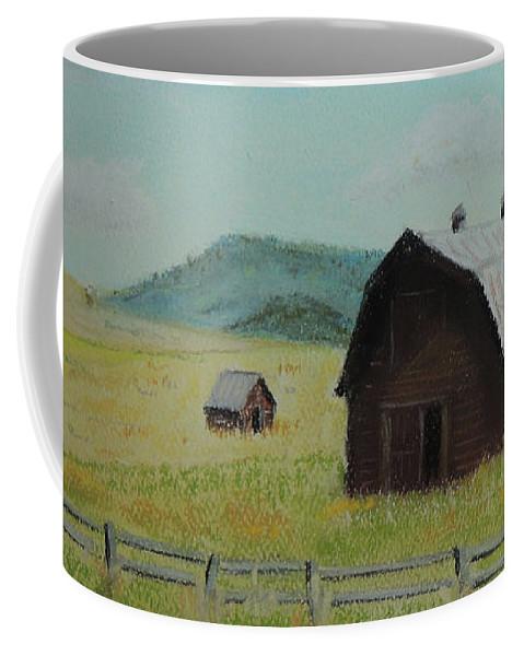 Pastel Painting Coffee Mug featuring the painting Rustic Montana Barn by Jayne Wilson