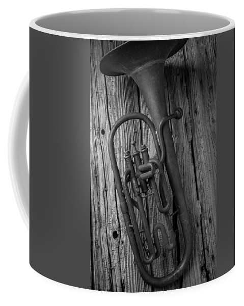 Tuba Coffee Mug featuring the photograph Rustic Old Horn by Garry Gay