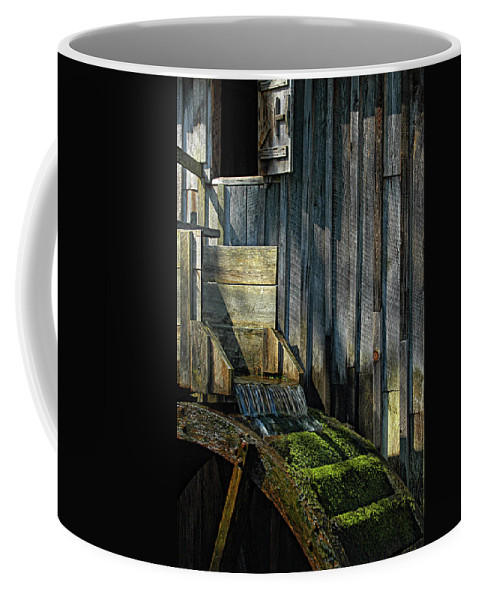 Water Coffee Mug featuring the photograph Rustic Water Wheel With Moss by Mitch Spence