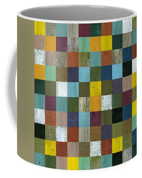 Textured Coffee Mug featuring the painting Rustic Wooden Abstract 100 by Michelle Calkins