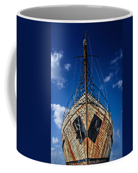 Abandoned Coffee Mug featuring the photograph Rusting Boat by Stelios Kleanthous