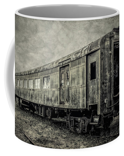 Railroad Coffee Mug featuring the photograph Rusting Passenger Car Ft Bragg by Garry Gay