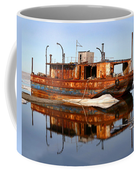 Boat Coffee Mug featuring the photograph Rusty Barge by Anthony Jones
