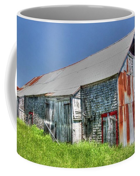 Deserted Barn Coffee Mug featuring the photograph Rusty Barn by Nadine Berg
