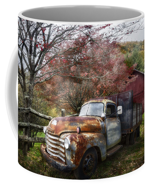 American Coffee Mug featuring the photograph Rusty Chevy Pickup Truck by Debra and Dave Vanderlaan