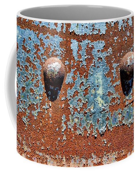 Rivet Coffee Mug featuring the photograph Rusty Rivets by Olivier Le Queinec
