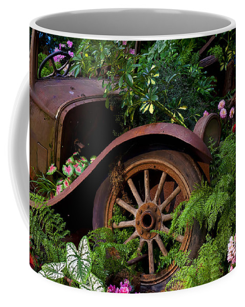 Rusty Truck Coffee Mug featuring the photograph Rusty Truck In The Garden by Garry Gay