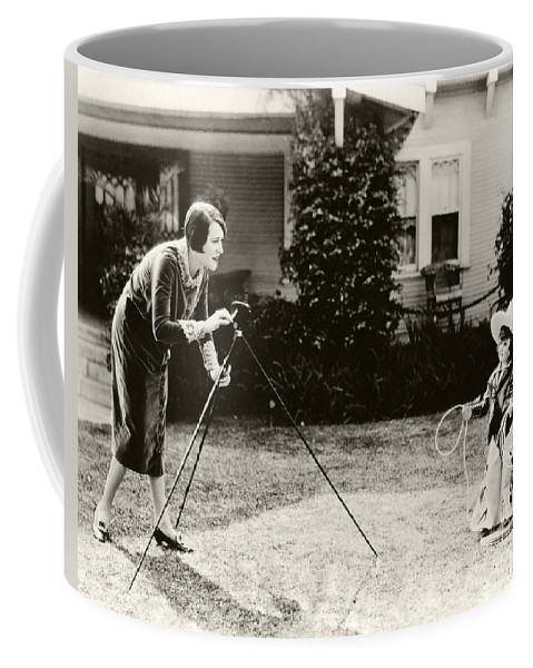 Ruth Roland Coffee Mug featuring the photograph Ruth Roland Photographing A Doll 1925 by Sad Hill - Bizarre Los Angeles Archive