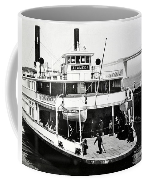 S. P. Coffee Mug featuring the photograph S. P. Ferry Alameda At San Francisco Circa 1940 by California Views Archives Mr Pat Hathaway Archives
