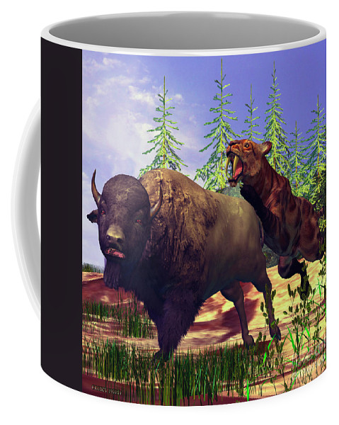 Saber-tooth Coffee Mug featuring the painting Saber-tooth Tiger by Corey Ford