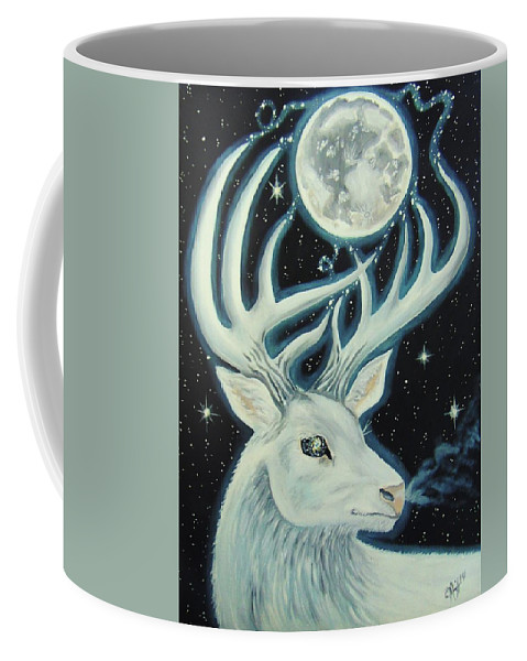 Deer Coffee Mug featuring the painting Sacred by The Art of Christina Marin