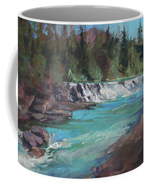 Glacier National Park Coffee Mug featuring the painting Sacred Dancing Cascade by Betty Jean Billups