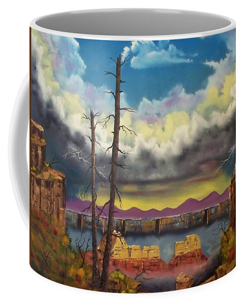 Painting Coffee Mug featuring the painting Sacred View by Patrick Trotter