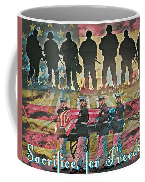 Military Coffee Mug featuring the digital art Sacrifice For Freedom by Carlos Garcia