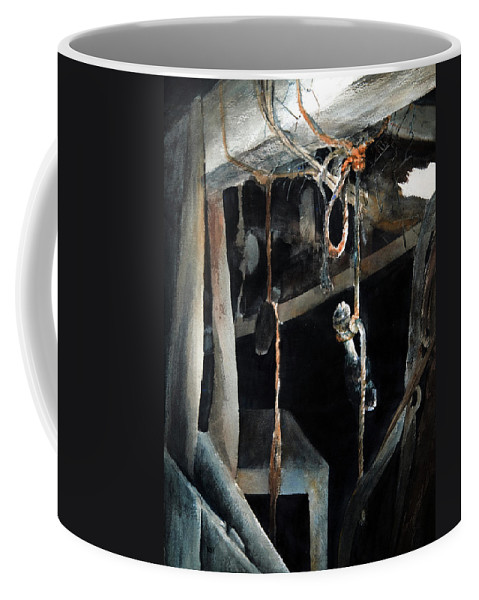 Abstract Coffee Mug featuring the painting Sacrifice by Rachel Christine Nowicki