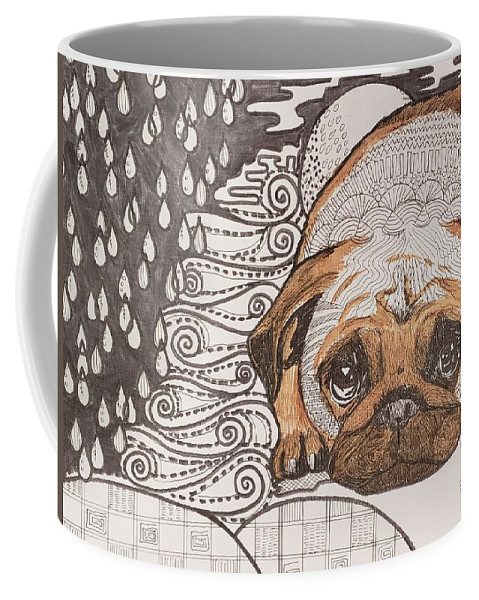 Dog Coffee Mug featuring the drawing Sad Pup by Thanh Ha Nguyen-Maga