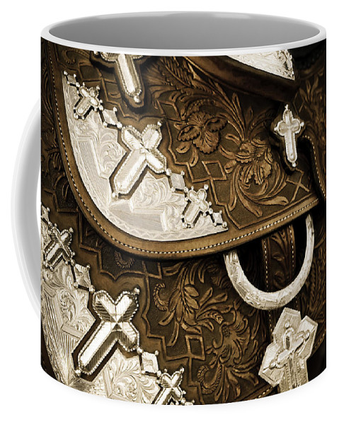 Americana Coffee Mug featuring the photograph Saddle 1 by Marilyn Hunt