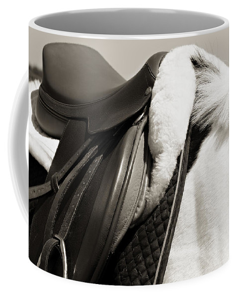 Horse Coffee Mug featuring the photograph Saddle And Softness by Marilyn Hunt