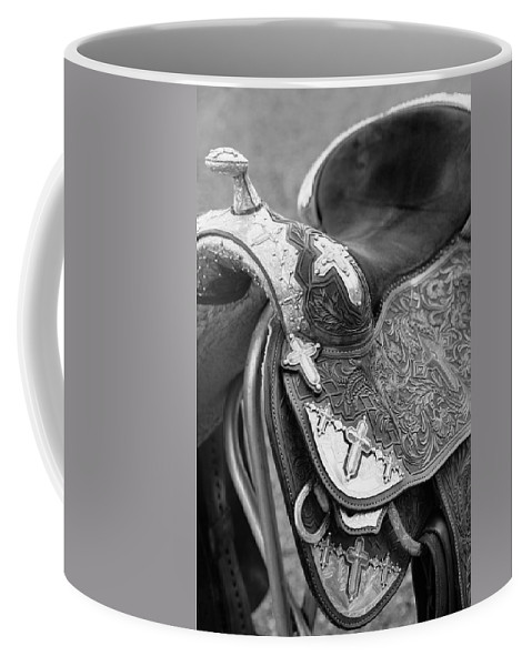 Americana Coffee Mug featuring the photograph Saddle by Marilyn Hunt