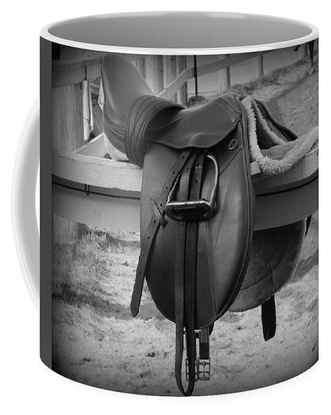 Saddle Up Coffee Mug featuring the photograph Saddle Up by Karen Cook