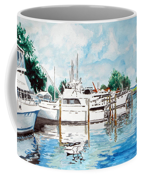 Boats Harbor Coastal Nautical Coffee Mug featuring the painting Safe Harbor by Jim Phillips
