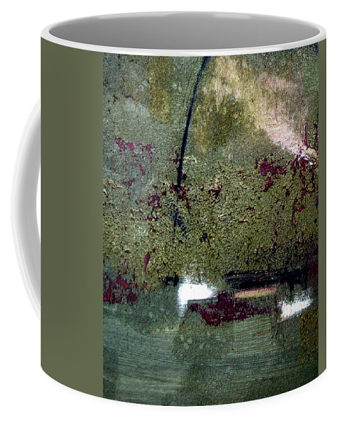 Abstract Coffee Mug featuring the painting Sage And Plum by Ruth Palmer