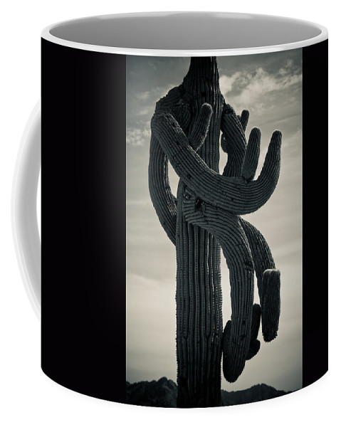 Saguaro Coffee Mug featuring the photograph Saguaro Cactus Armed And Twisted by James BO Insogna