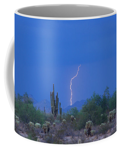 Lightning Coffee Mug featuring the photograph Saguaro Desert Lightning Strike Fine Art by James BO Insogna