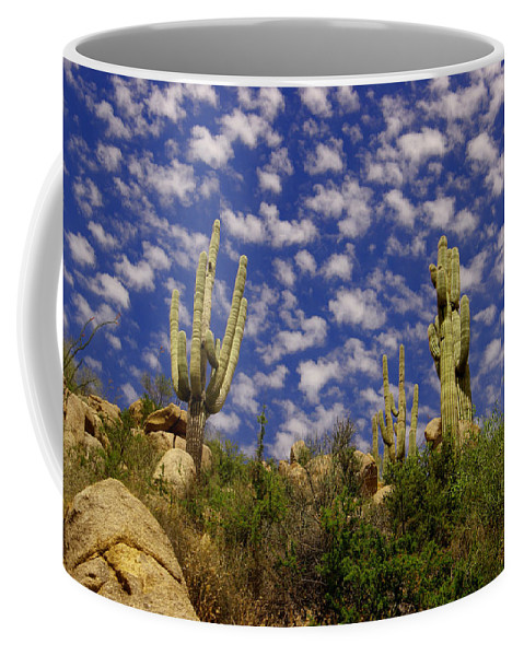Cactus Coffee Mug featuring the photograph Saguaros Under A Cloud Dappled Sky by Jeff Swan
