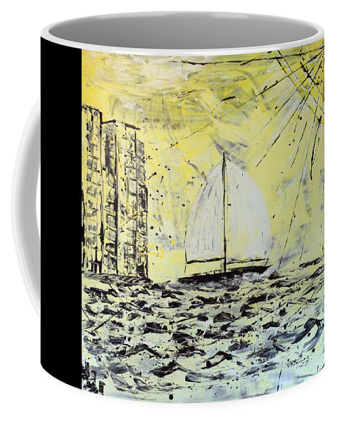 Abstract Coffee Mug featuring the painting Sail And Sunrays by J R Seymour