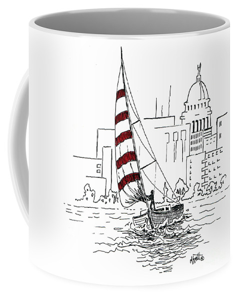 Sail Boat Coffee Mug featuring the drawing Sail Away by Marilyn Smith