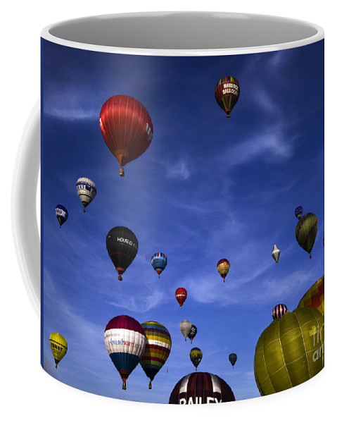 Balloon Fiesta Coffee Mug featuring the photograph Sail Away With Me Hunny.... by Angel Ciesniarska