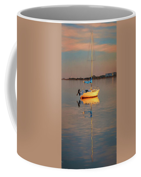 Vertical Coffee Mug featuring the photograph Sail Boat In Roanoke Sound 1x2 Ratio Photo Painting Img_3969 by Greg Kluempers