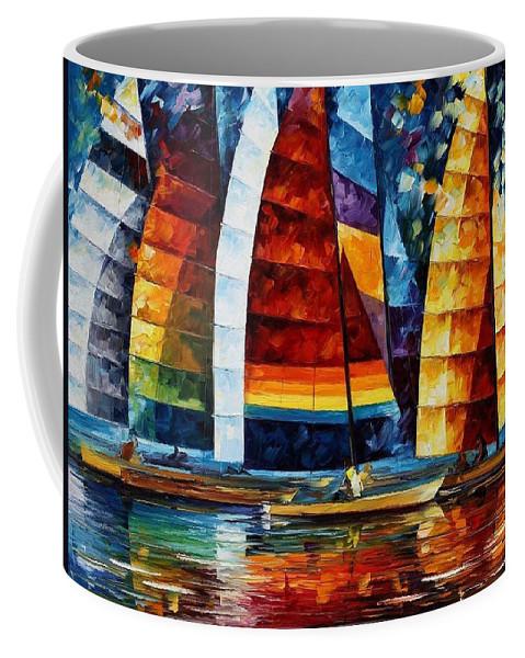 Afremov Coffee Mug featuring the painting Sail Regatta by Leonid Afremov