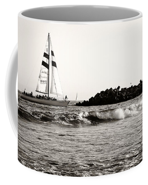 Santa Cruz Coffee Mug featuring the photograph Sailboat And Lighthouse 2 by Marilyn Hunt