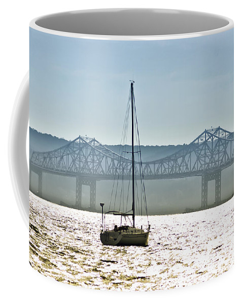 Tappan Zee Bridge Coffee Mug featuring the photograph Sailboat And The Tappan Zee Bridge by Bill Cannon