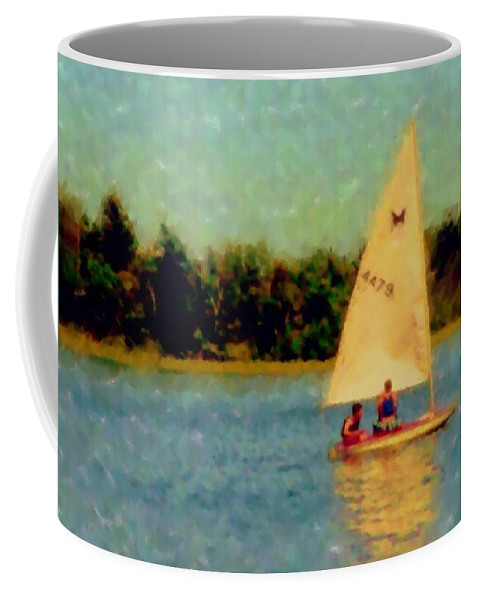 Sailboat Coffee Mug featuring the digital art Sailboat by Anita Burgermeister