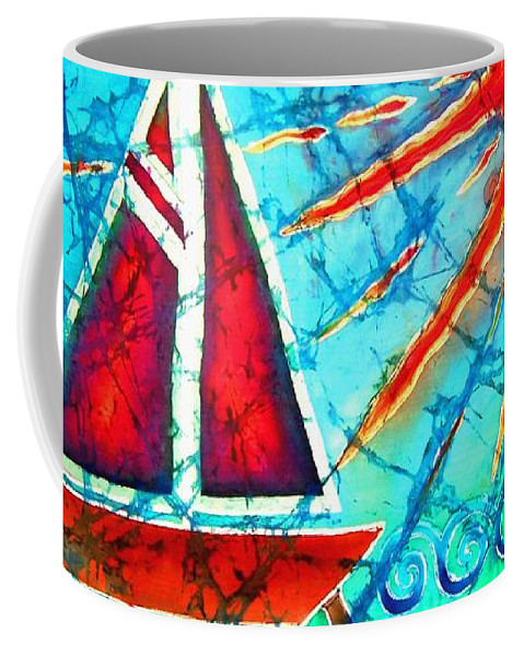 Sailboat Coffee Mug featuring the painting Sailboat In The Sun by Sue Duda