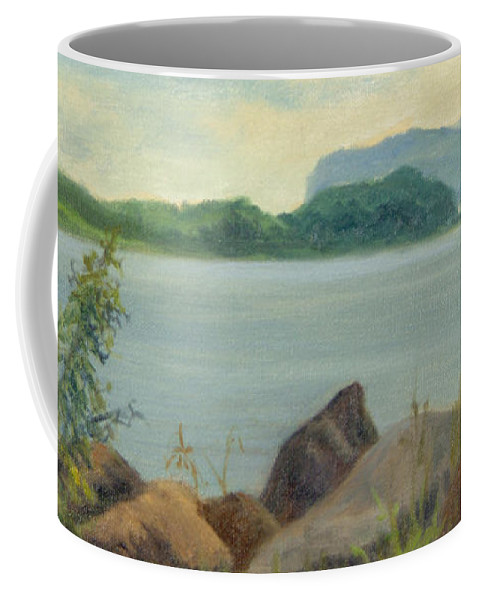 Oil Landscape Coffee Mug featuring the painting Sailboat Near Croton Landing by Phyllis Tarlow