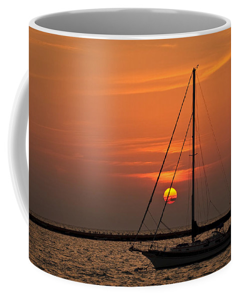 Boat Coffee Mug featuring the photograph Sailboat Sunrise Chicago by Steve Gadomski