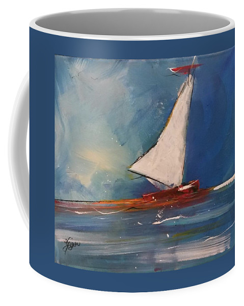 Boat Coffee Mug featuring the painting Sailboat by Terri Einer