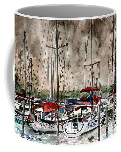 Watercolor Coffee Mug featuring the painting Sailboats At Night by Derek Mccrea