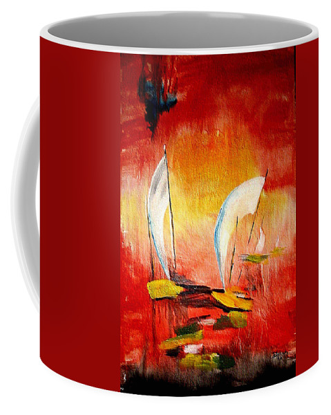 Sailboats Coffee Mug featuring the painting Sailboats by Dragica Micki Fortuna